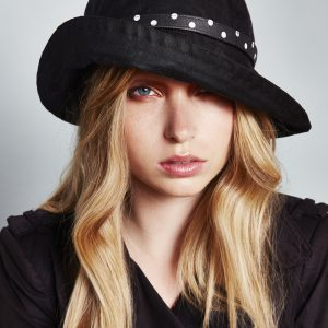 Black Wax Rainhat With Polkadot